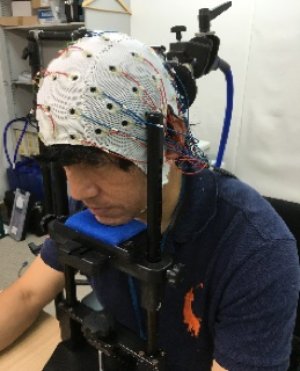 (写真1)電極付きキャップによる脳波計測の様子