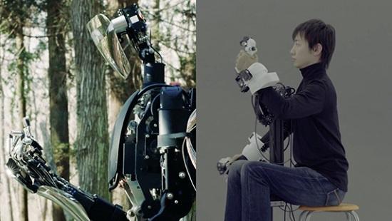 (写真1)メルティンMMIが提供する生体信号処理とワイヤー駆動式ロボットハンドの技術