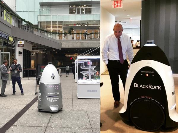 (写真3)ナイトスコープの屋外用警備ロボット「K5」は、あえて体を大きくして威圧感を持たせるようデザインされている(左)。屋内用警備ロボット「K3」も、重さは154kgあるので人間が1人で運び出すことはできない(右)。(ナイトスコープのホームページより引用)