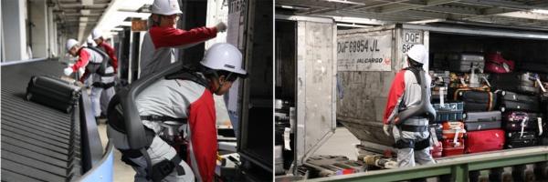 (写真1)空港で活用される「ATOUN MODEL Y」。乗客の手荷物を取り扱うソーティング場でのベルトコンベアからコンテナへの積み込み作業、貨物倉庫内での貨物の出し入れ作業などを行う作業員の負担軽減や生産性の向上などを目的に運用されている(ATOUN MODEL Yのホームページより引用)