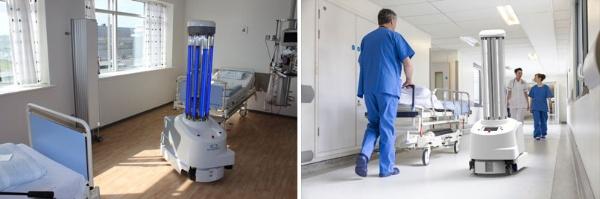 (写真4)自律的に移動して病室内などを殺菌してくれるUDV ROBOTSのUVDR(UDV ROBOTSのホームページより引用)