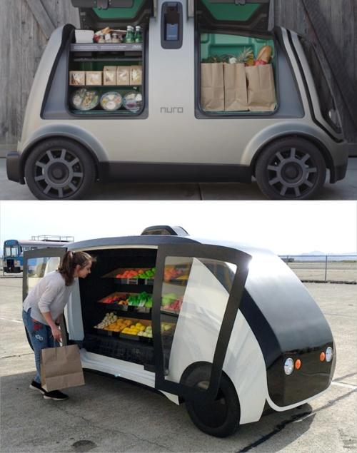 (写真1)オンラインで購入した商品を自宅まで届けるデリバリーロボット(上:Nuroのホームページから引用)とスマートフォンで呼び出してその場で買い物ができるコンビニエンスロボット(下:Robomartのホームページから引用)