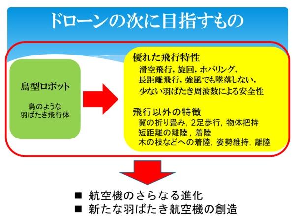 (図)鳥型ロボットの研究が次世代の飛行体を生み出す(資料提供:九州工業大学 大竹博氏)