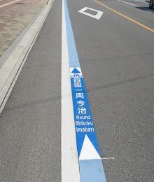 四国一周の推奨ルートを示す、路面のブルーラインによるピクト案内(写真撮影:筆者)