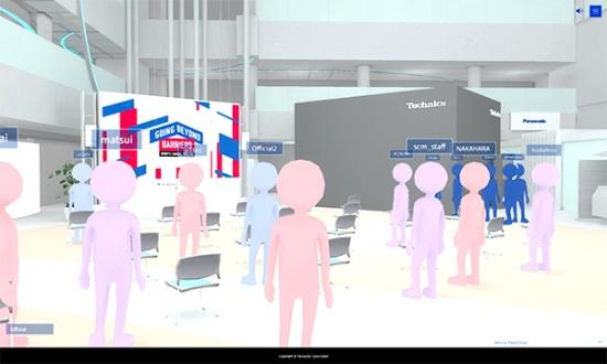 Mirror Fieldの画面例。オンラインで参加したユーザーは、オフライン会場とそっくりな仮想空間をアバターとなって移動する(写真:パナソニック、以下同)