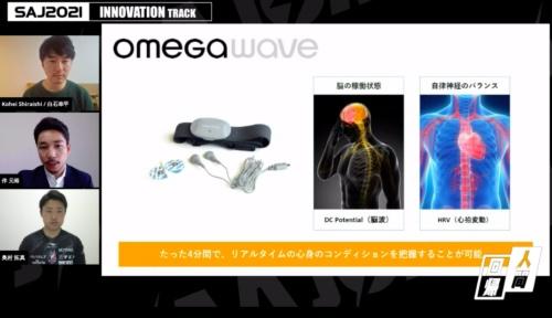 フィンランドのOmegawaveが開発した「Omegawave」。額と胸に装着して4分間安静にしながら脳波と心拍変動を測定することで、集中の状況などメンタルデータを可視化する