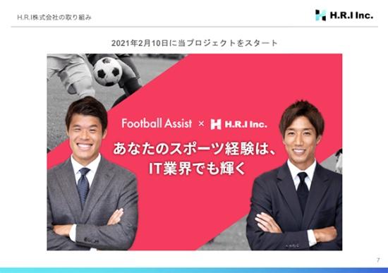 セカンドキャリア支援プロジェクトは、大津氏(右)、酒井氏(左)が発起人として活動する「Football Assist」とともに取り組んでいる(出所:H.R.Iによる同プロジェクト資料)