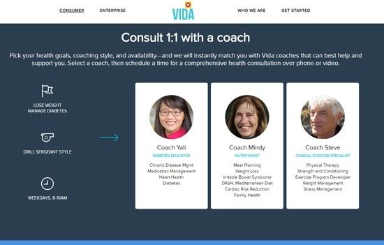 1対1のパーソナルコーチによる指導が特徴のVida Health(出所:米Vida Healthのホームページ)