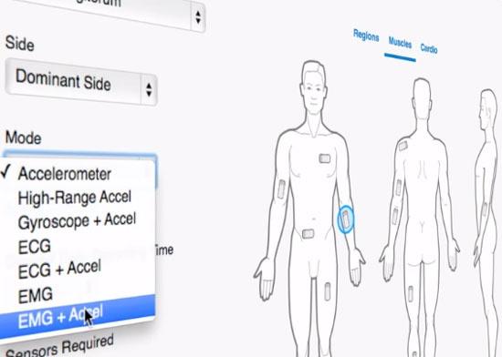 (写真2)BioStampRCは任意の場所に貼り付け可能。採取したデータはクラウドで管理する(出典:米MC10の紹介動画より)