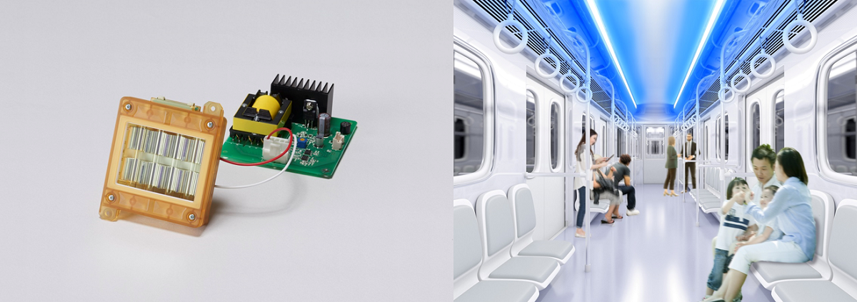 左がCare222 光源モジュール、右が電車内の照射イメージ(出所:ウシオ電機)