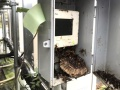 筐体を開けると「アシナガバチの巣」、パネルの裏には「スズメバチの巣」