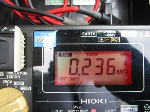 図2●絶縁抵抗値が約0.2MΩと極端に低いパネルを発見