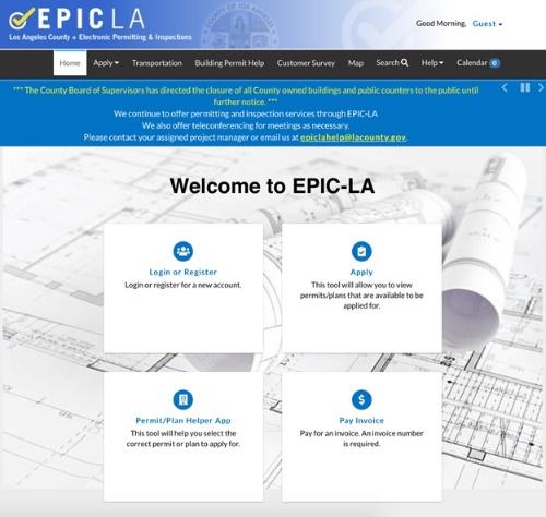 図3●ロサンゼルス郡の建築(電気)用オンライン許可申請と遠隔検査のウェブページ