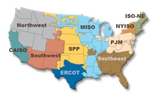 図3●米国系統運用機関(ISO)・地域送電機関(RTO)の地図