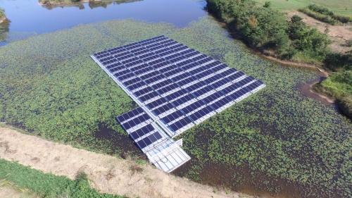 図1●「野田池」の低圧の水上太陽光発電所