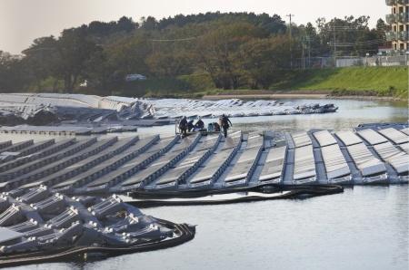 復旧作業の始まった「山倉水上メガソーラー」