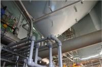 発酵槽下の機械室。発酵槽の底から発酵の進んだ残渣を取り出す