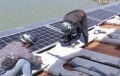 Large PV Inverters Set Up Above Reservoir at Floating Solar Plant in Kagawa