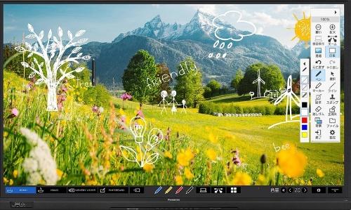 入力機器の切り替え、画面上に手書き入力するペンの色の色の選択などができる「メニューバー」を用意