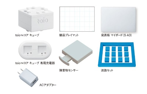 内田洋行が2021年10月に発売を予定している「toio迷路セット」。中学校技術・家庭科(技術分野)の「計測と制御」の授業で、障害物センサーを備えたロボットが迷路を脱出するプログラムを学ぶ