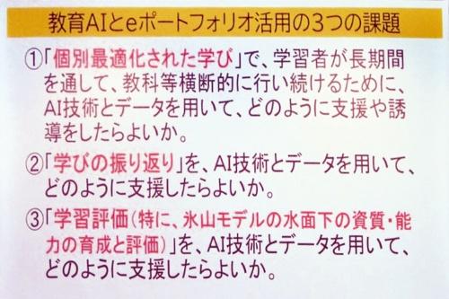 東京学芸大学の森本氏は、AIを使うeポートフォリオ活用について、3つの課題を示した(出所:森本氏の発表スライド)