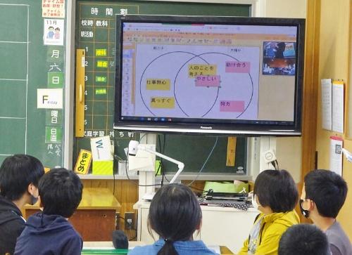 朝暘第二小学校との接続には、オンライン会議サービスの「Zoom」を利用。両校のグループ同士で話し合って、共同宣言をまとめる