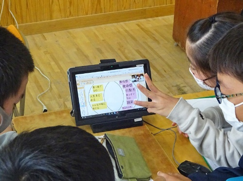 自分の考えやグループの提言は、ベン図を利用してまとめた。ジェイアール四国コミュニケーションウェアのソフト「コラボノート」を使用