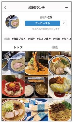 Instagram で「# 新橋ランチ」を検索。「フォローする」でフォローできる