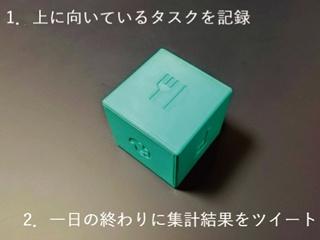 6面に6種類のタスクが描かれた立方体、上に向ける面を変えるだけで行動を記録