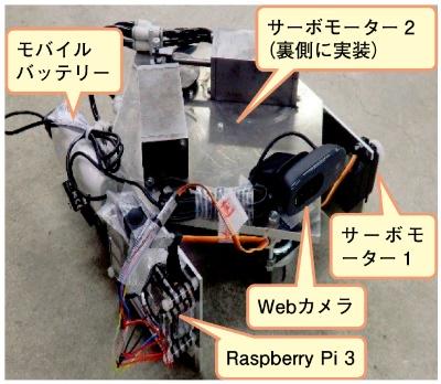 図1 空気圧エンジンを用いた自走ロボット