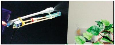 図1 右の赤丸で囲った虫の模型に薬剤を散布したところ