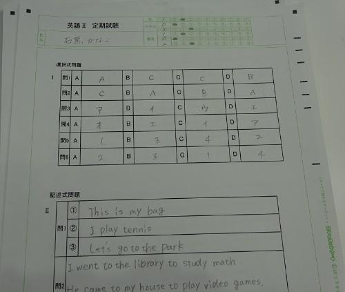 スキャネットの「デジらく採点」の専用解答シート。さまざまな種類の解答シートを用意している