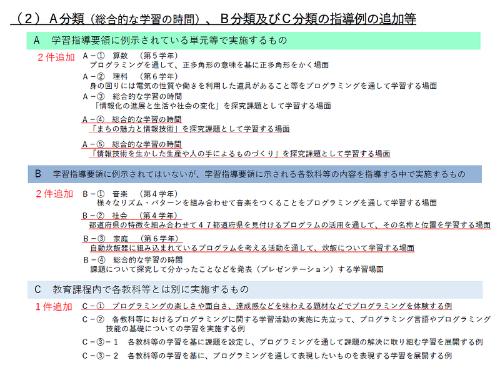 手引きの第二版で追加された指導例