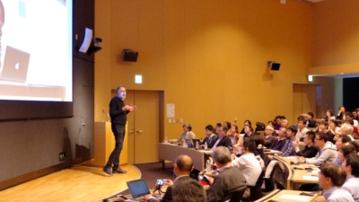 写真1●Scratch開発を率いるレズニック教授が基調講演を行った