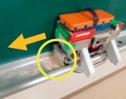 (3)左方向に自走してたまっているチョークの粉を左端に寄せる