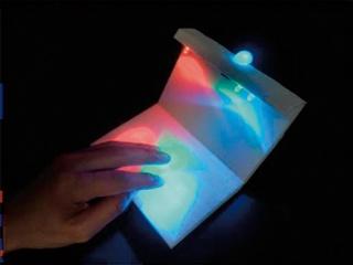赤、緑、青のLEDの下で手を動かし直感的に好きな色を作れる装置